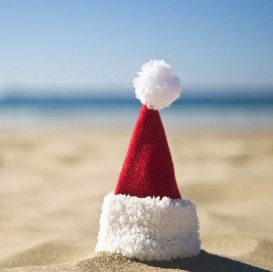 Christmas hat on the beach