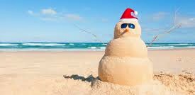Snowman in the sand