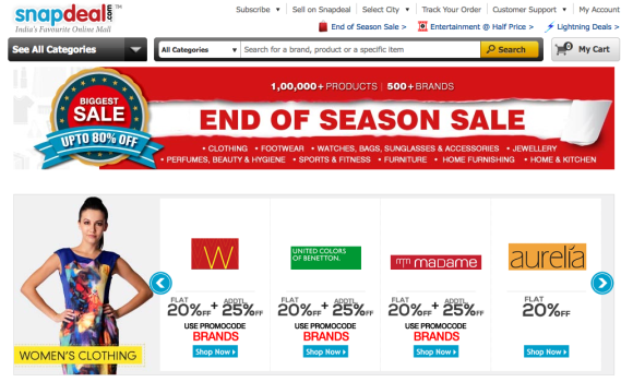 Sale going on at Snapdeal